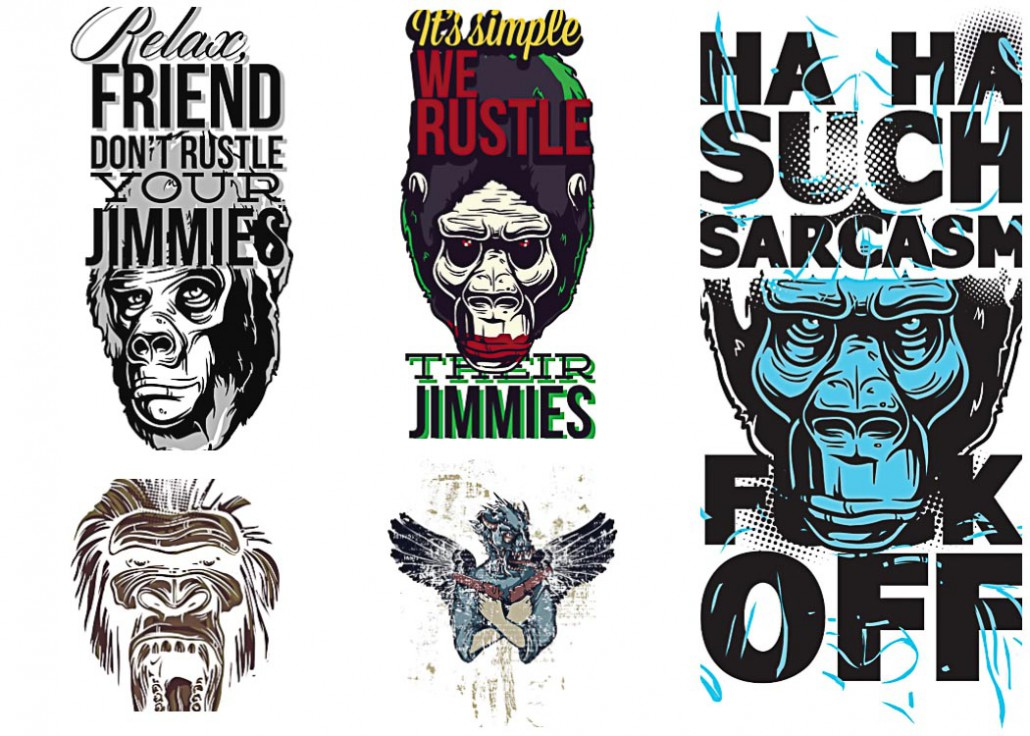 Apes prints t shirt vector set free download for T shirt designing and printing
