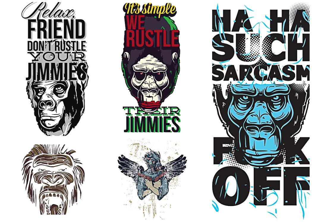 T-shirt prints with angry apes set vector