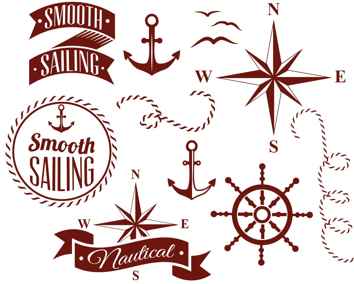 Set of decorative nautical elements vector