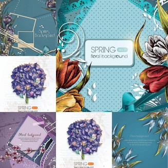 Floral blue ornate spring free backgrounds vector set