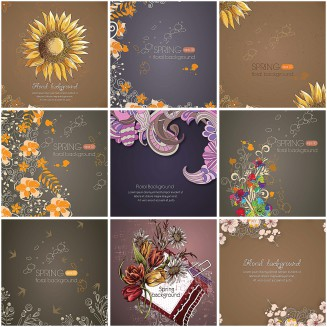 Dark backgrounds floral spring vectors