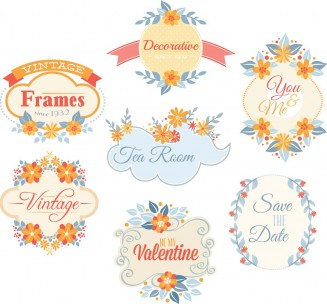 Romantic floral frames and labels set vector