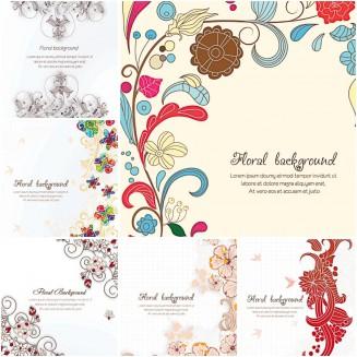 Ornate floral pattern spring set vector
