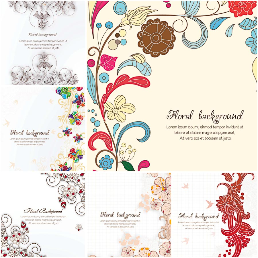 Ornate floral pattern spring set vector