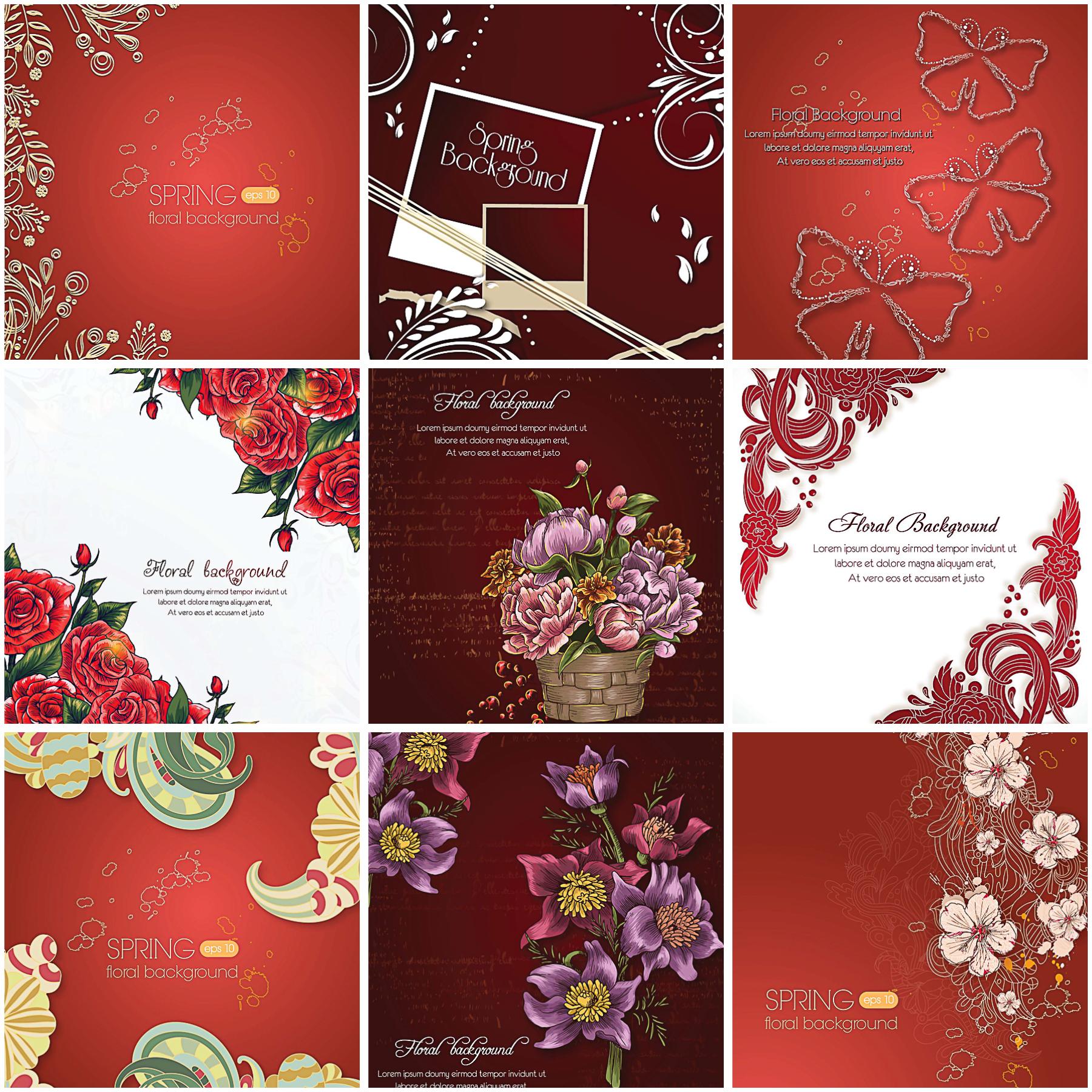 Floral backgrounds spring red set vector