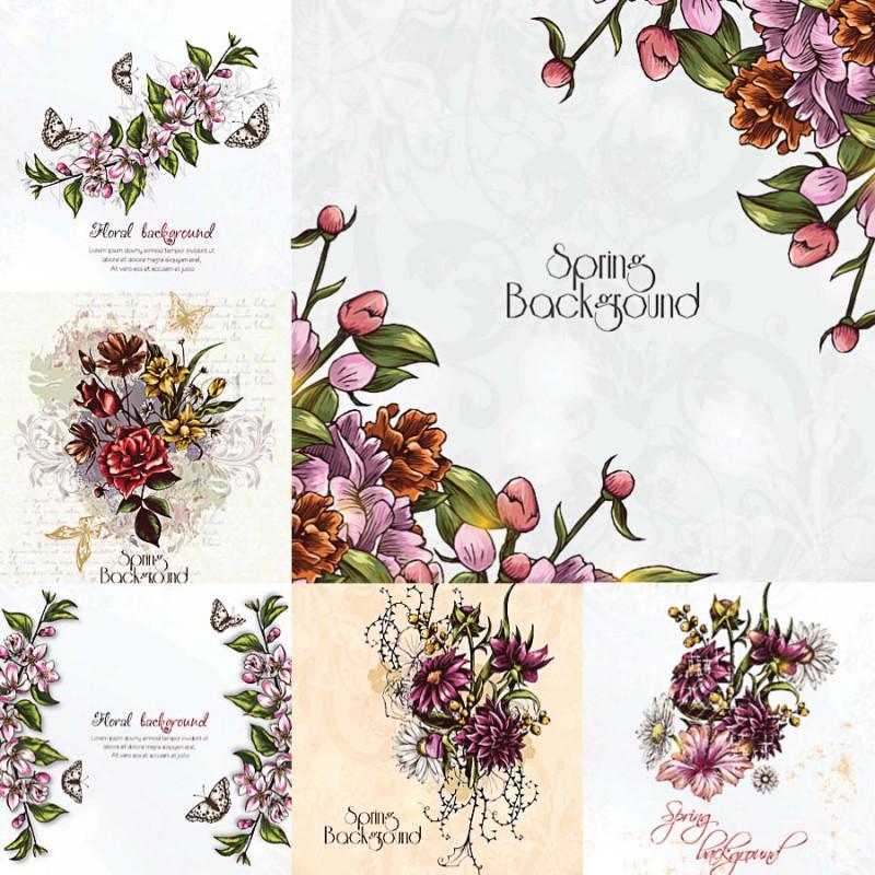 floral spring background frame set vector  cgispread