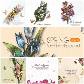 Spring floral backgrounds light vector set
