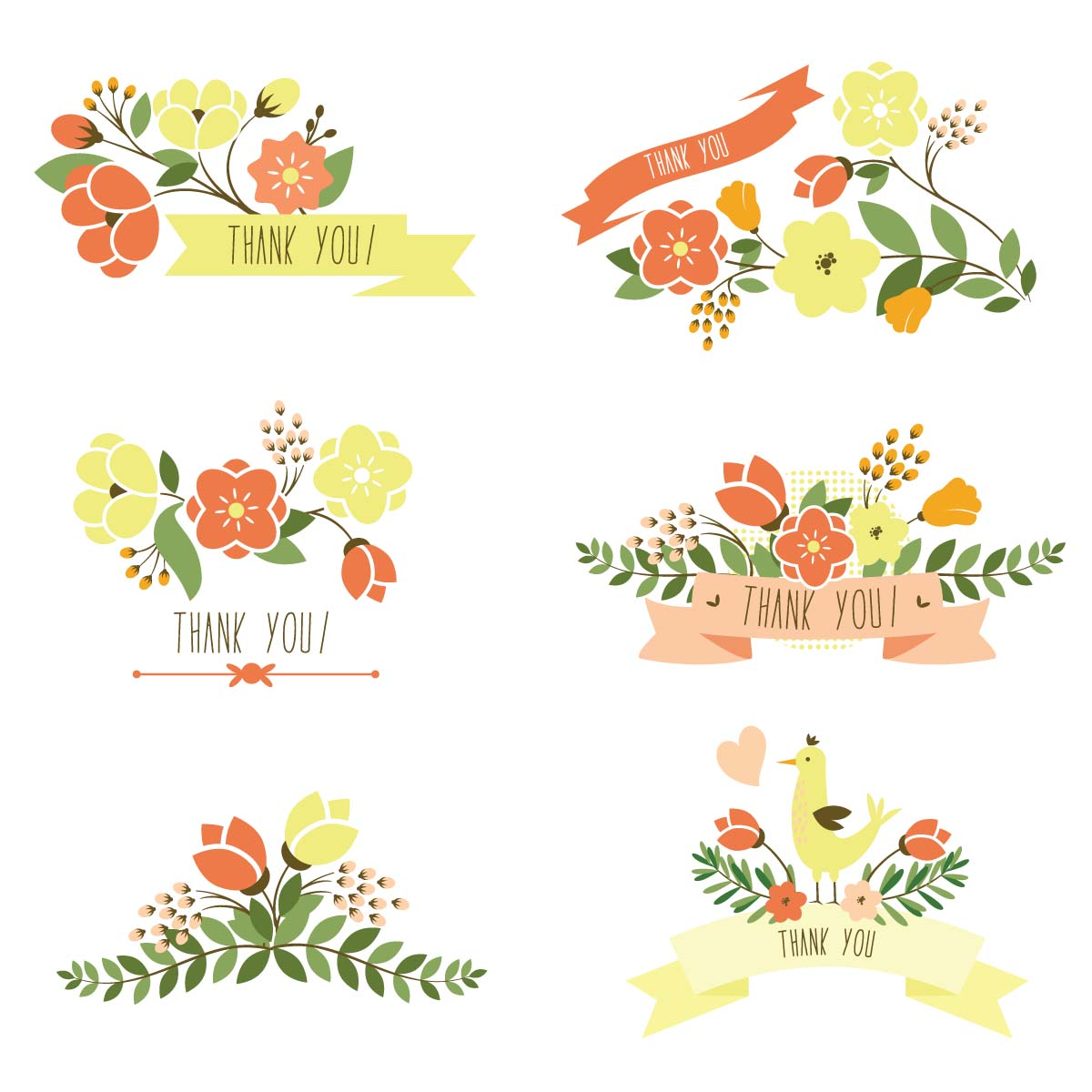 Thank you banner with flowers set vector