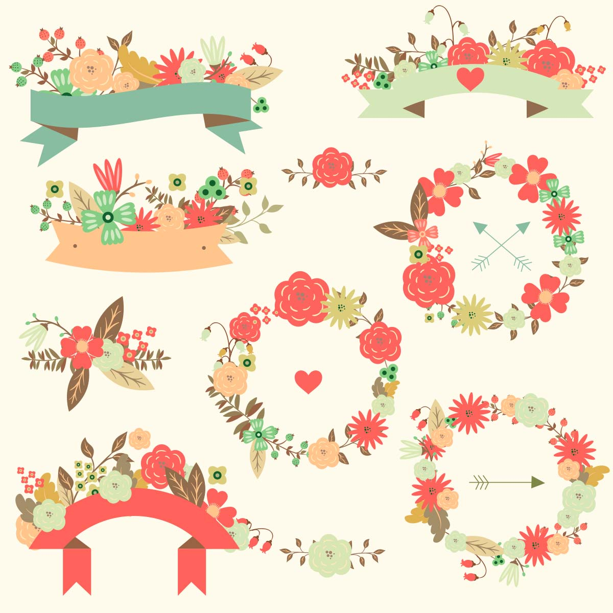Wedding vector floral ribbons set