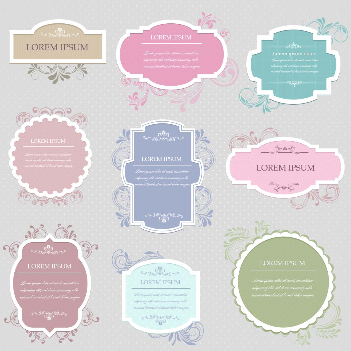 Frames free vector vintage set | Free download