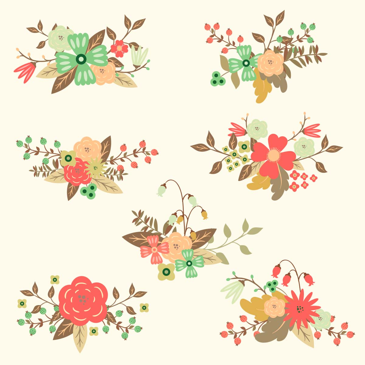 Free Vector Floral Hand Drawn Set Free Download