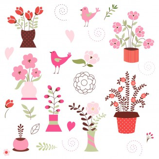 Home flowers with birds free vector set