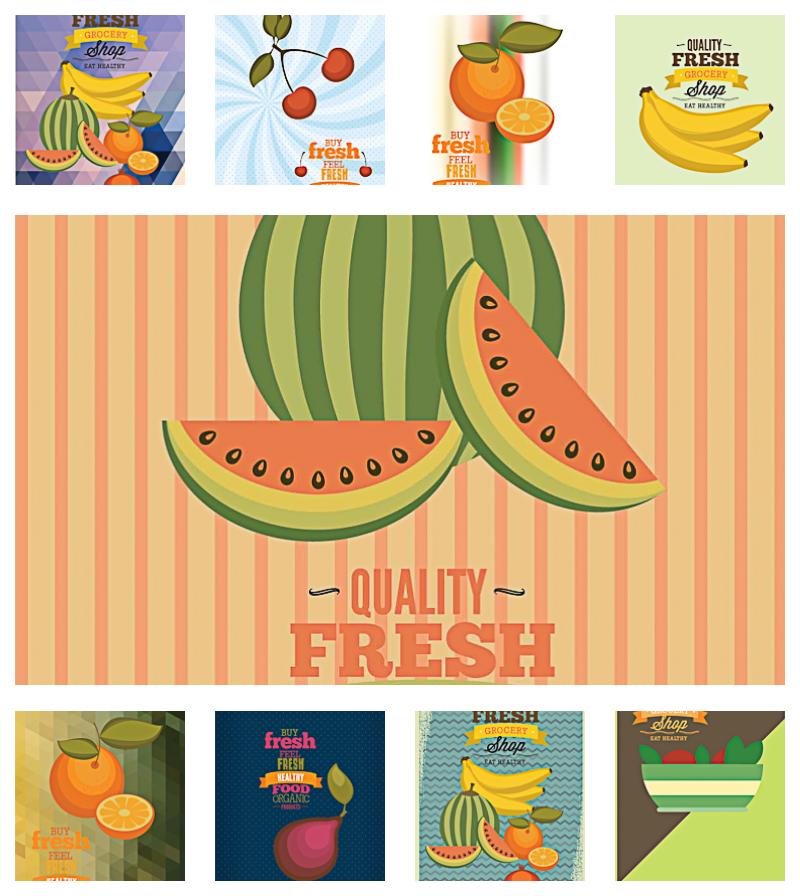 Grocery store fresh food pattern set vector