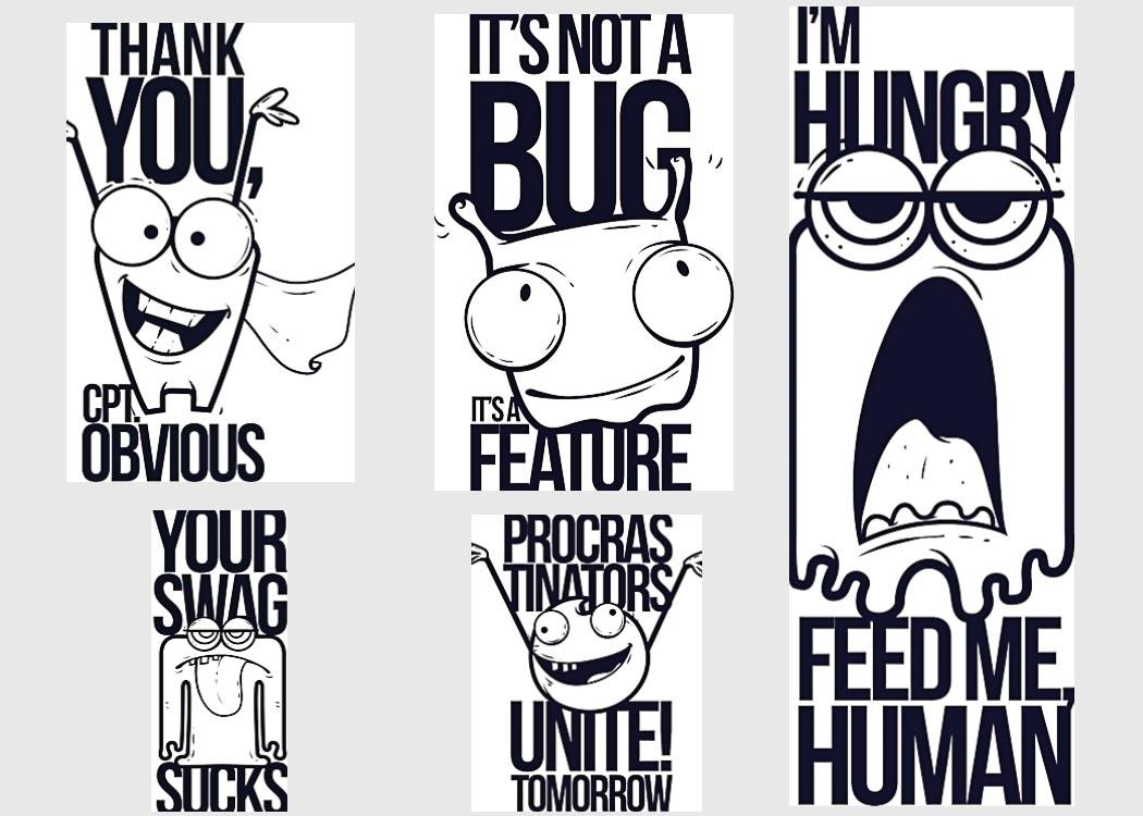 Cartoon t-shirt print funny set vector