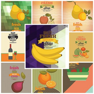 Fruits and vegetables shop pattern set vector
