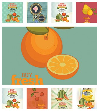Vegetables and fruits shop pattern set vector