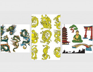 Japanese decorative elements dragons set vector