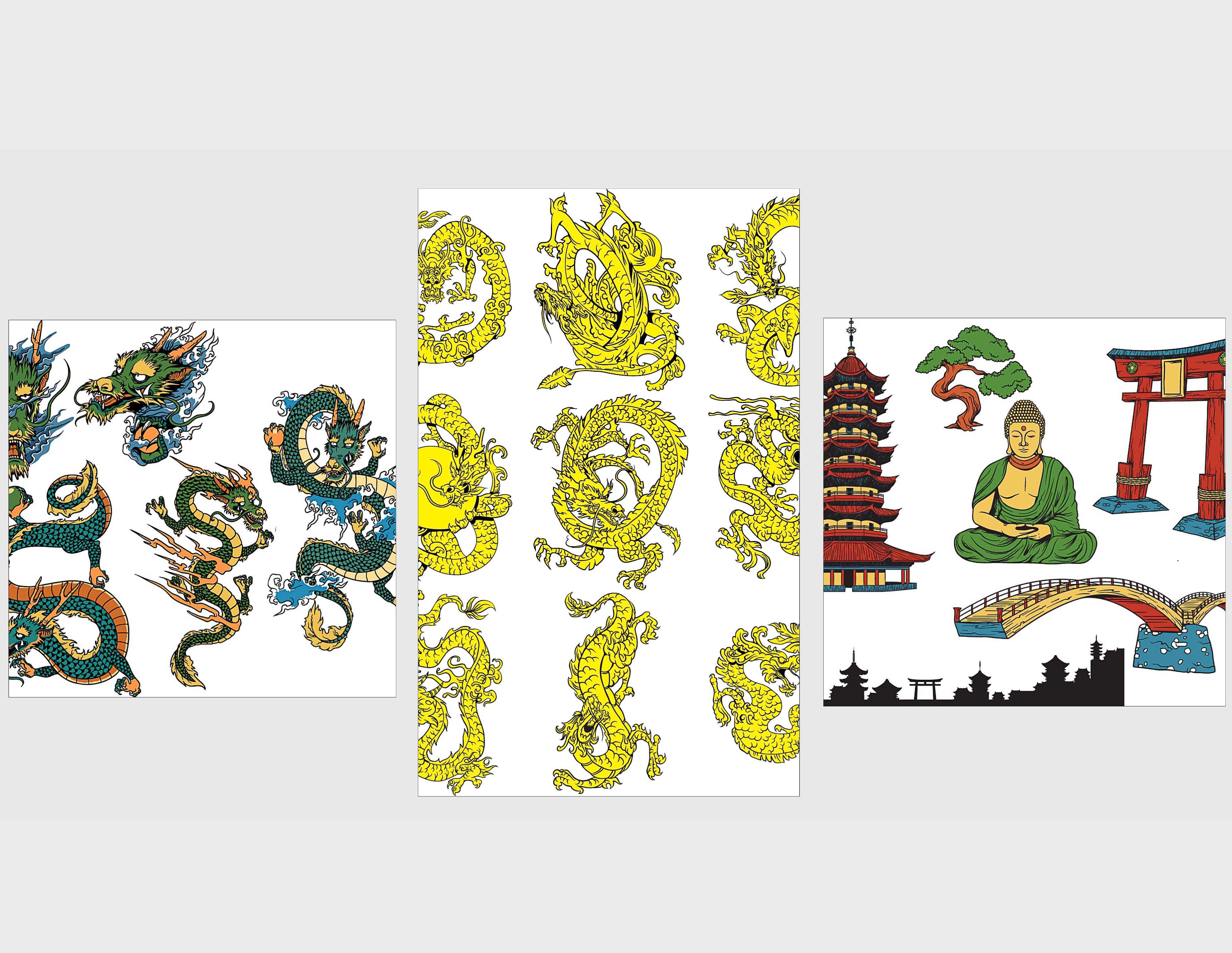Japanese decorative elements dragons set vector