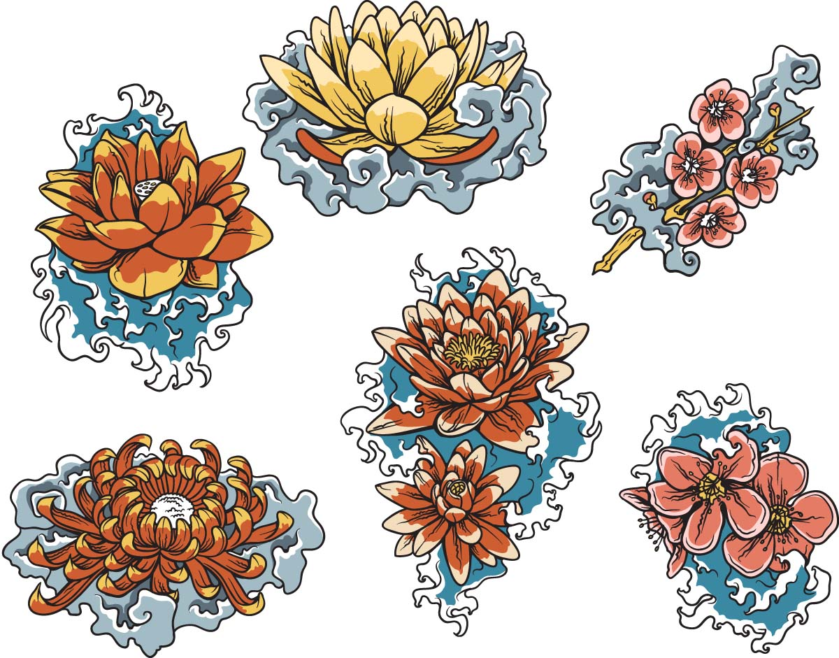 Lotus flower japan symbols set vector