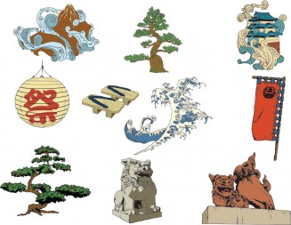 Set of vectors with Japanese national decorative symbols