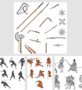 Japanese decorative elements warriors ninja set vector