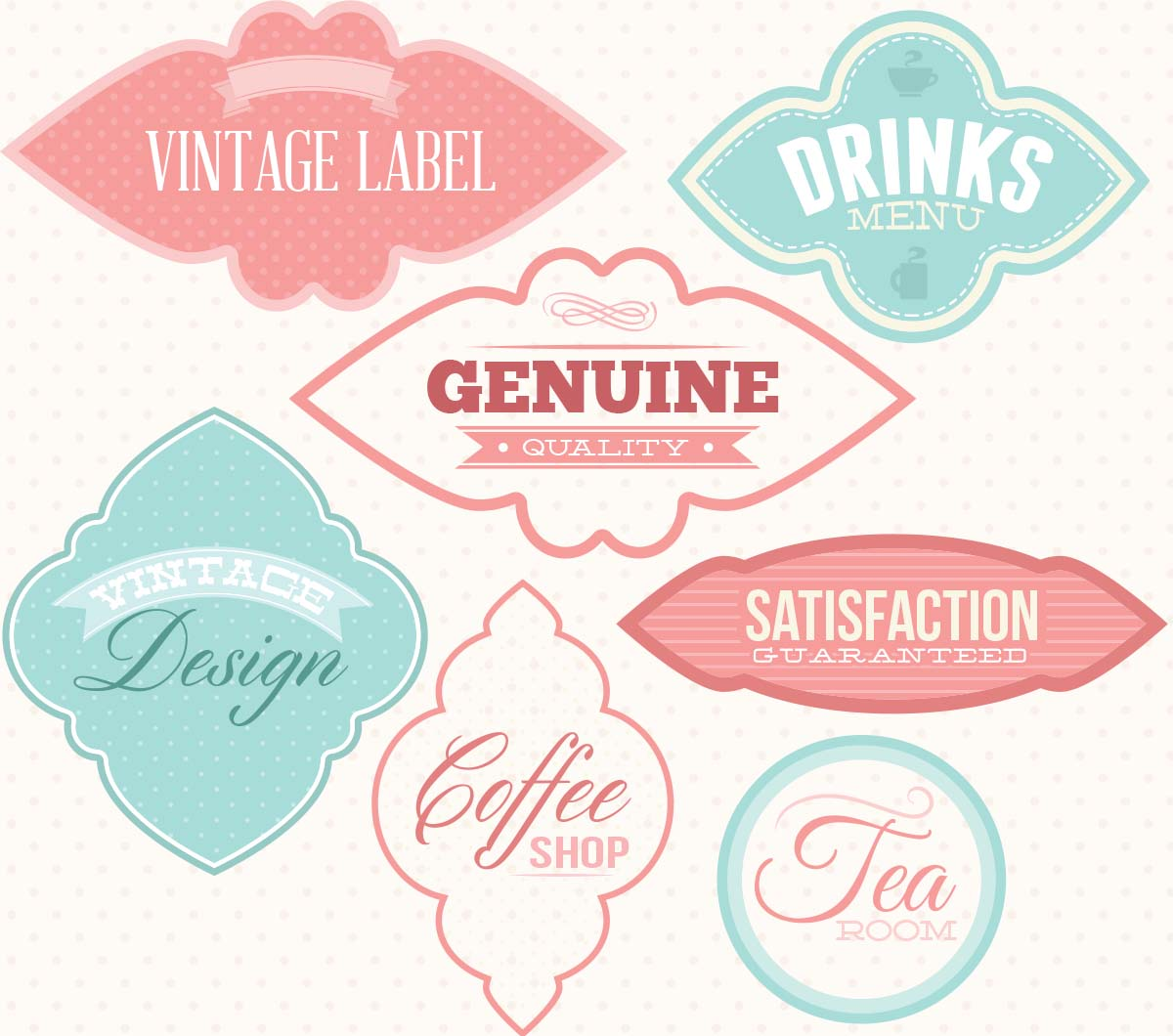 Vintage labels cute vector set