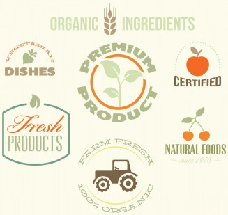 Organic premium labels set vector