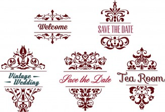 Ornate wedding invitations elements set vector