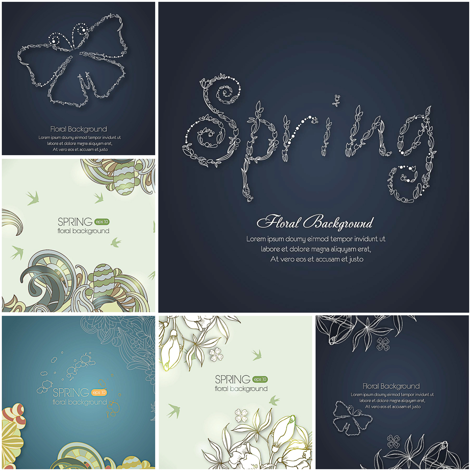 Floral backgrounds blue ornate set vector
