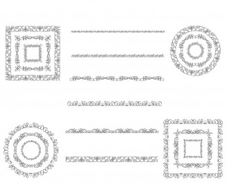 Ornate shapes vintage design set vector