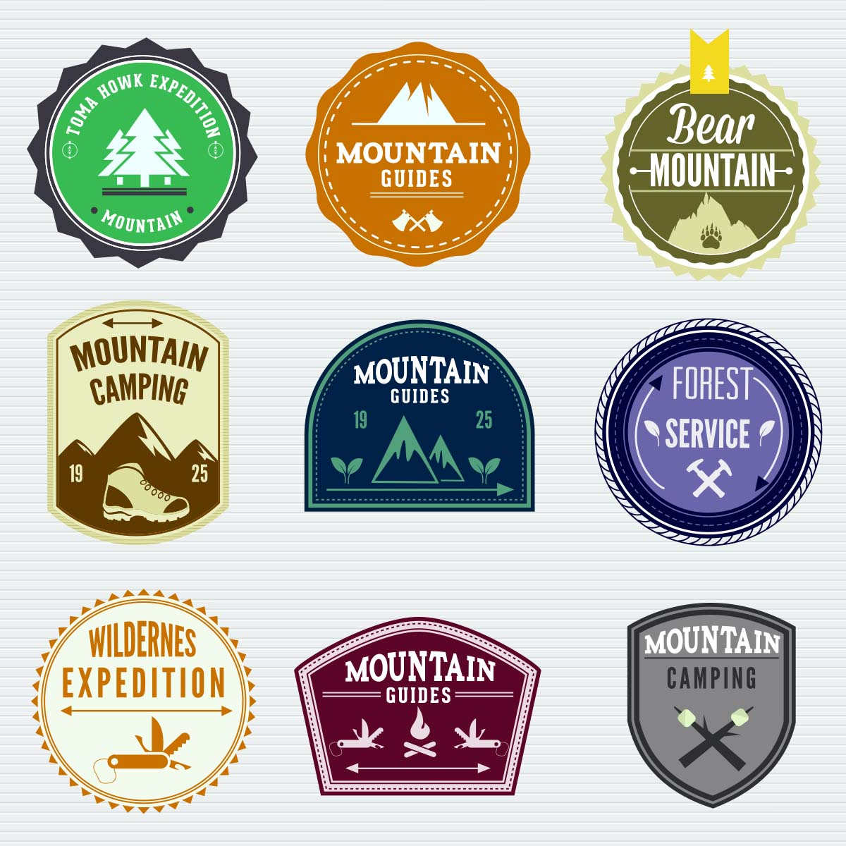 Free vector set with decorative badges with outdoor adventures.
