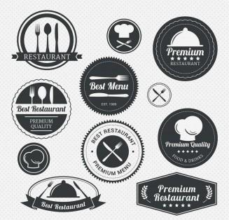Restaurant menu labels with forks and knives set vector