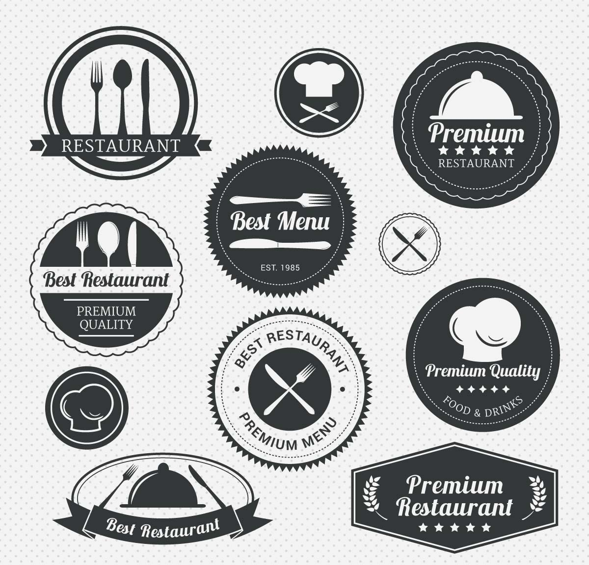 Restaurant menu labels with forks and knives set vector