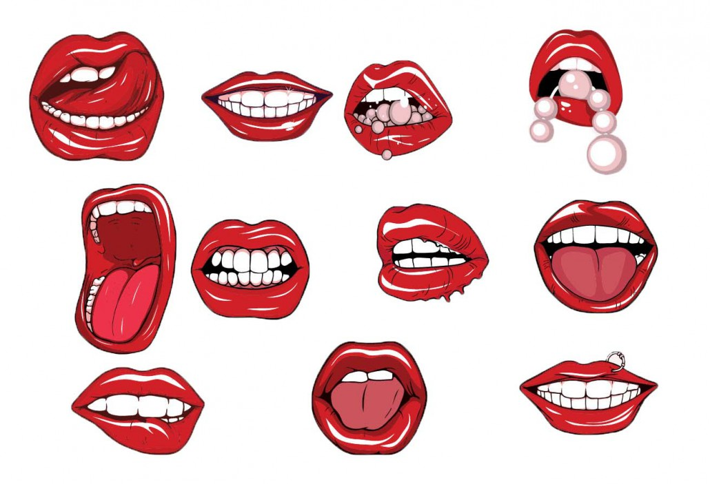 red lips pearls vector set
