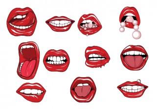 Lips and teeth free vector