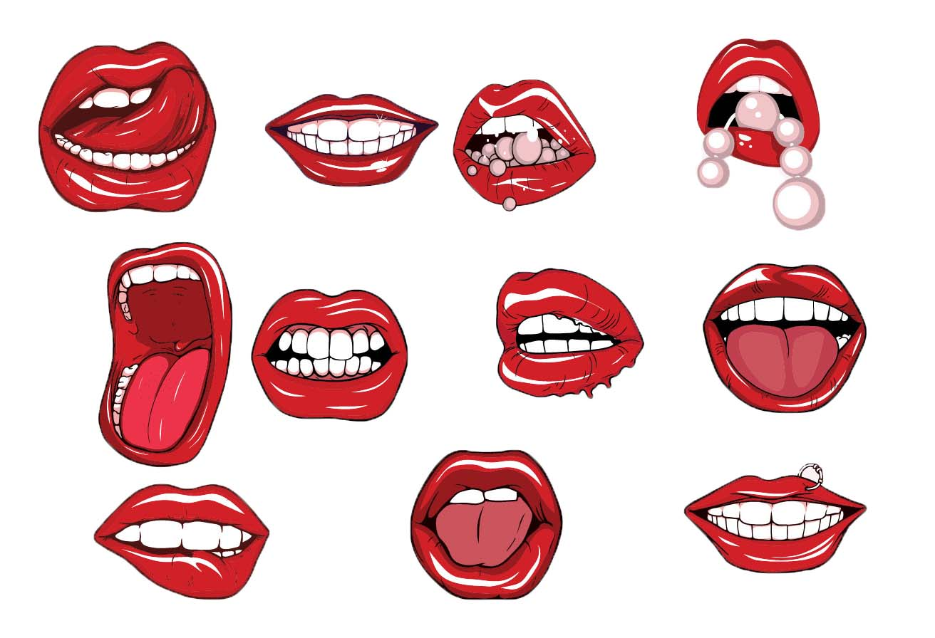Lips and teeth free vector