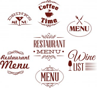 Menu labels for restaurants set vector