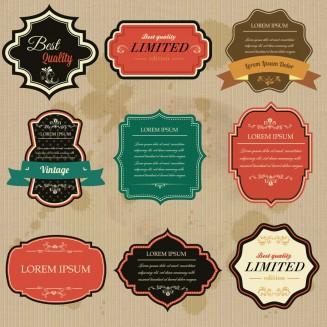 Vintage ornate labels and badges set vector