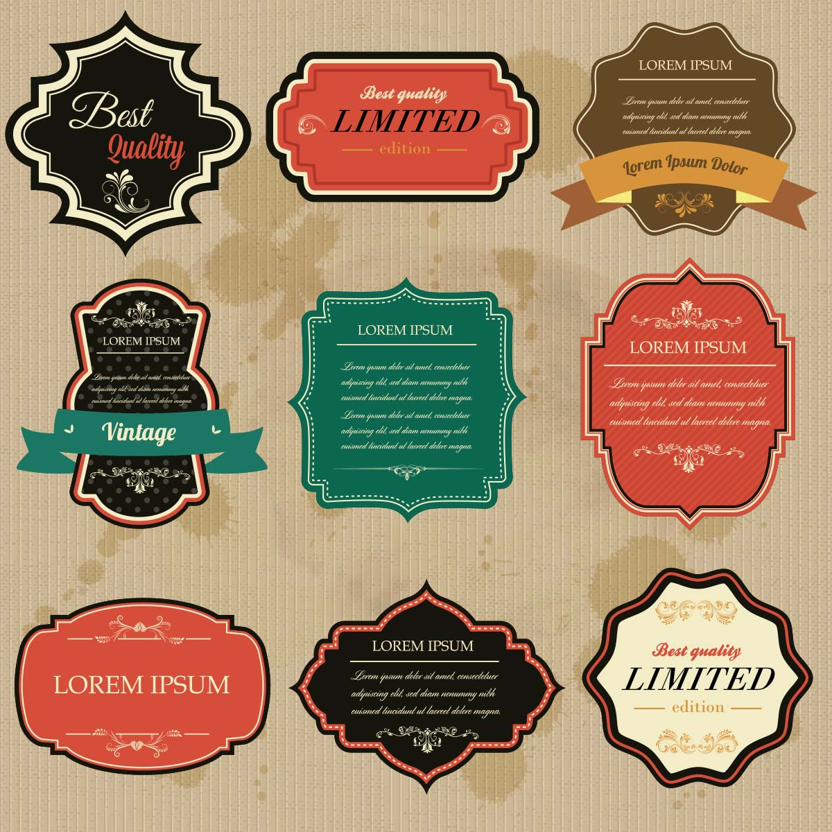Vintage ornate labels and badges set vector