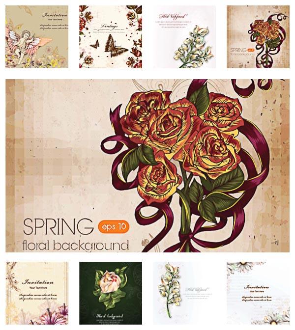 floral spring vintage pattern set vector