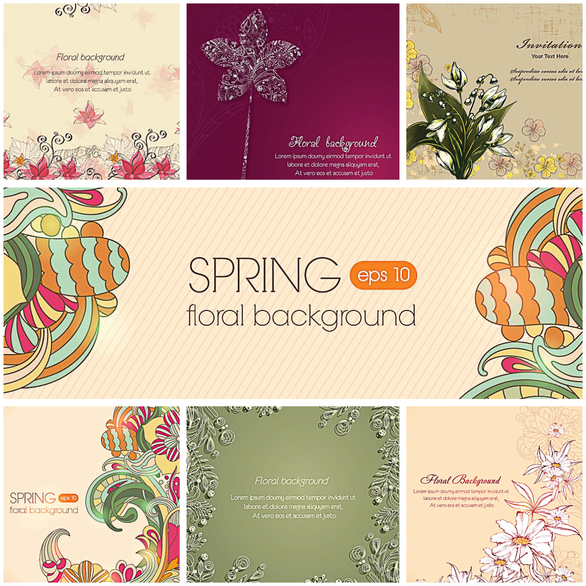 Floral spring light backgrounds set vector