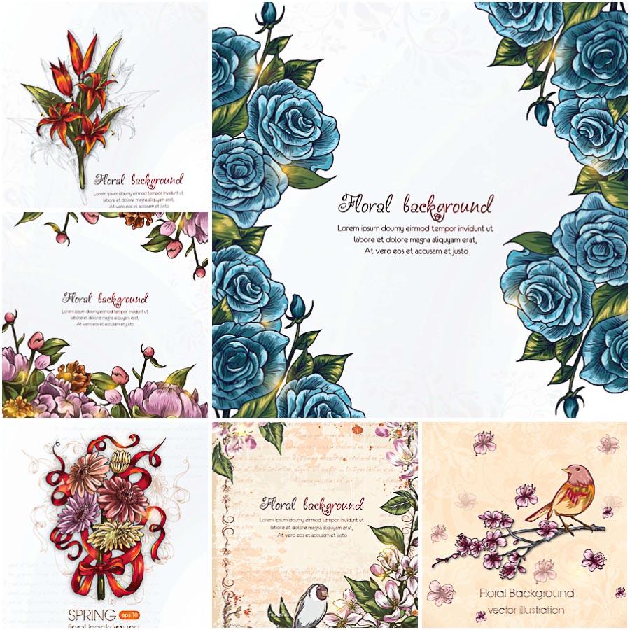 Floral frames vintage pattern set vector
