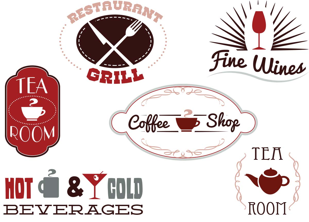 Restaurant labels coffee and tea set vector