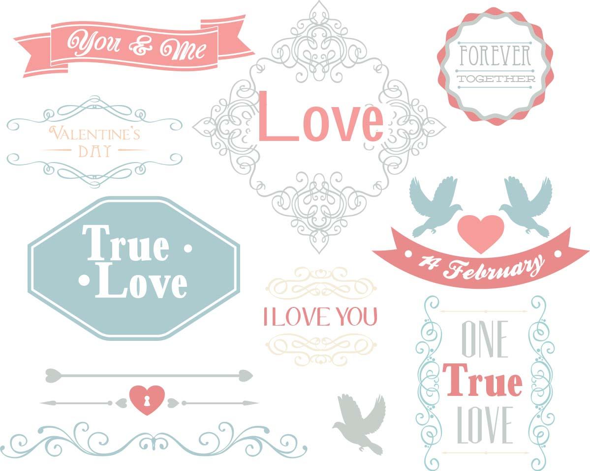 Valentine's Day romantic elements set vector