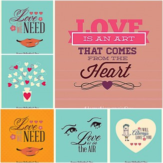 Free vector postcard Valentine's Day set