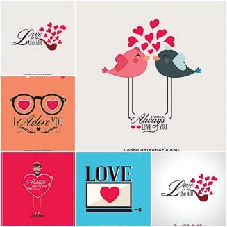 Valentine's Day 2015 postcard free vector set