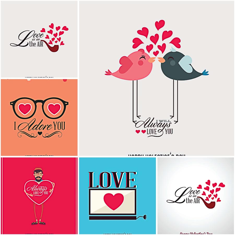 Valentine's Day 2015 postcard free vector set
