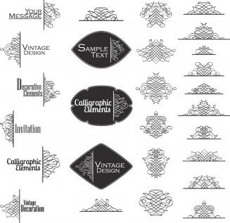 Decoration vintage calligraphic elements set vector