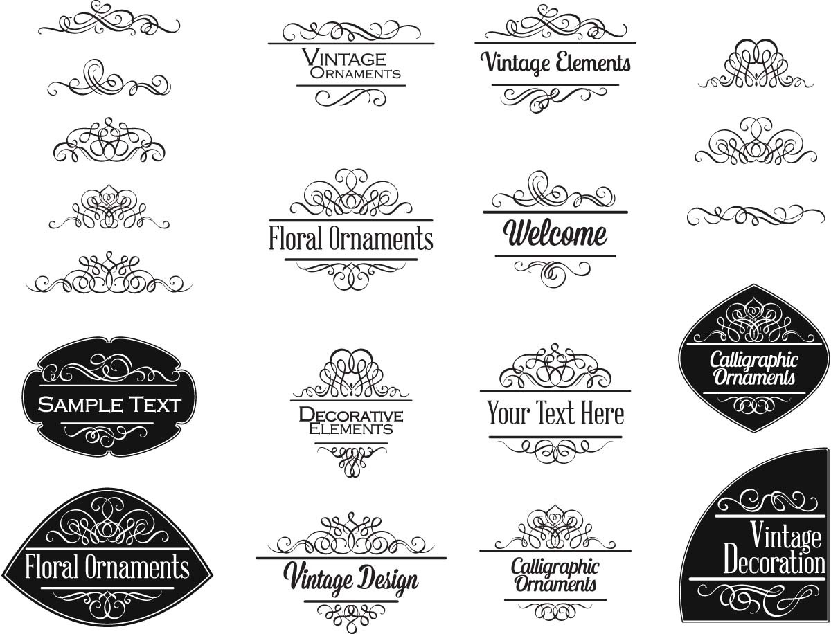 Ornaments borders free download cgispread part 30 decoration elements vintage invitations set vector stopboris Choice Image