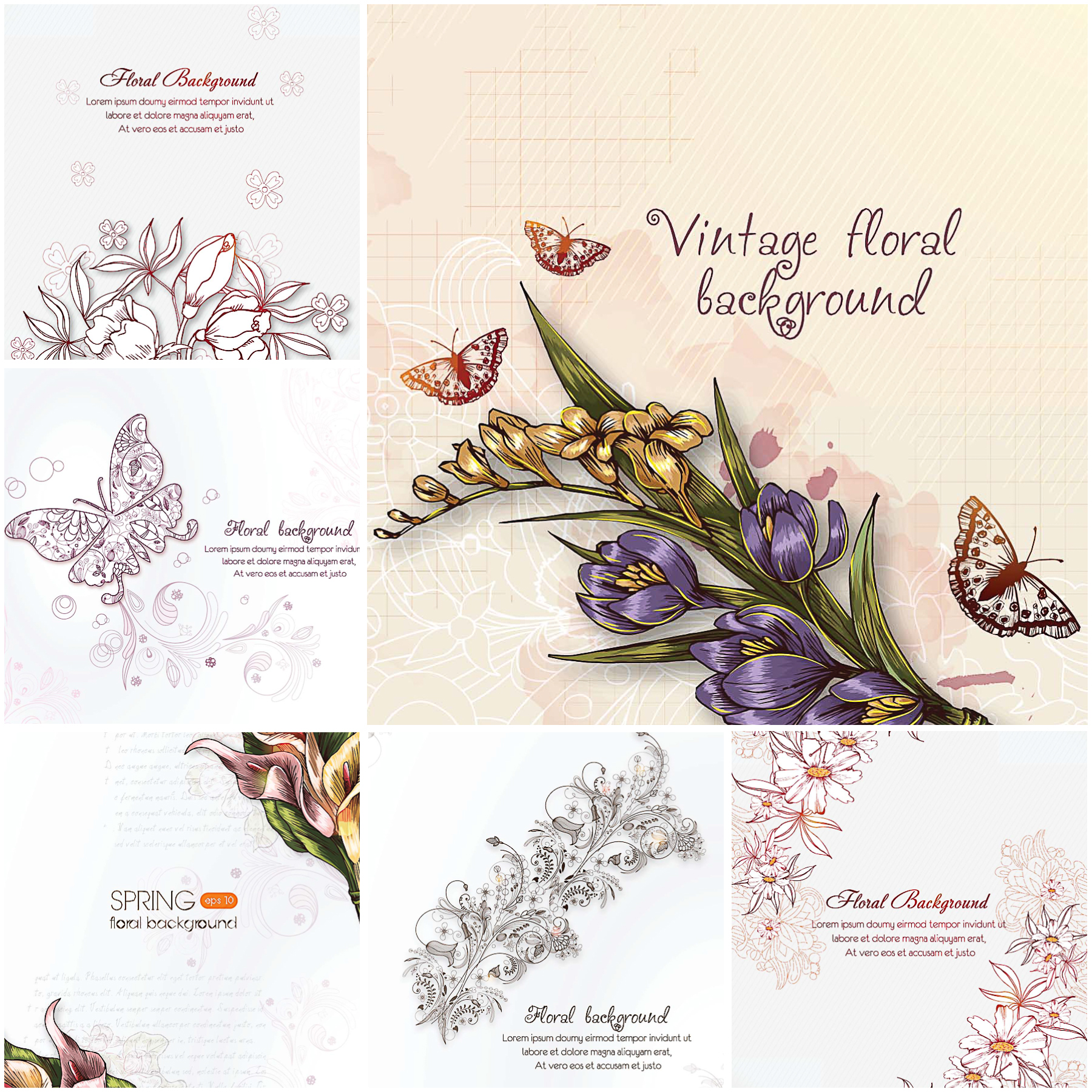 Floral vintage spring background set vector